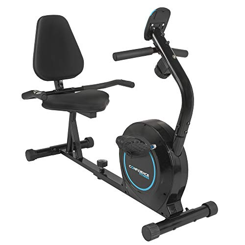 Confidence Fitness Magnetic Recumbent Exercise Bike with Adjustable Resistance for Home Use