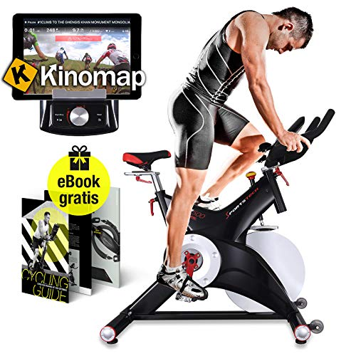 Sportstech Professional Indoor Cycle SX500 with Smartphone App Control + 25KG Flywheel, Arm Support, Pulse Belt Compatible - Speedbike in Studio Quality with SPD Click System - Kinomap & eBook incl.