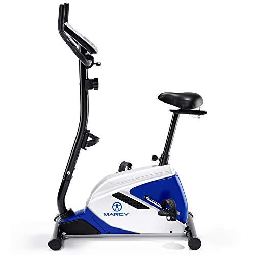 Marcy Azure BK1016 Upright Exercise Bike - Black/White/Blue, One Size